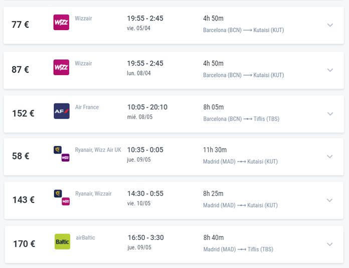 Algunos vuelos a Georgia desde Espana